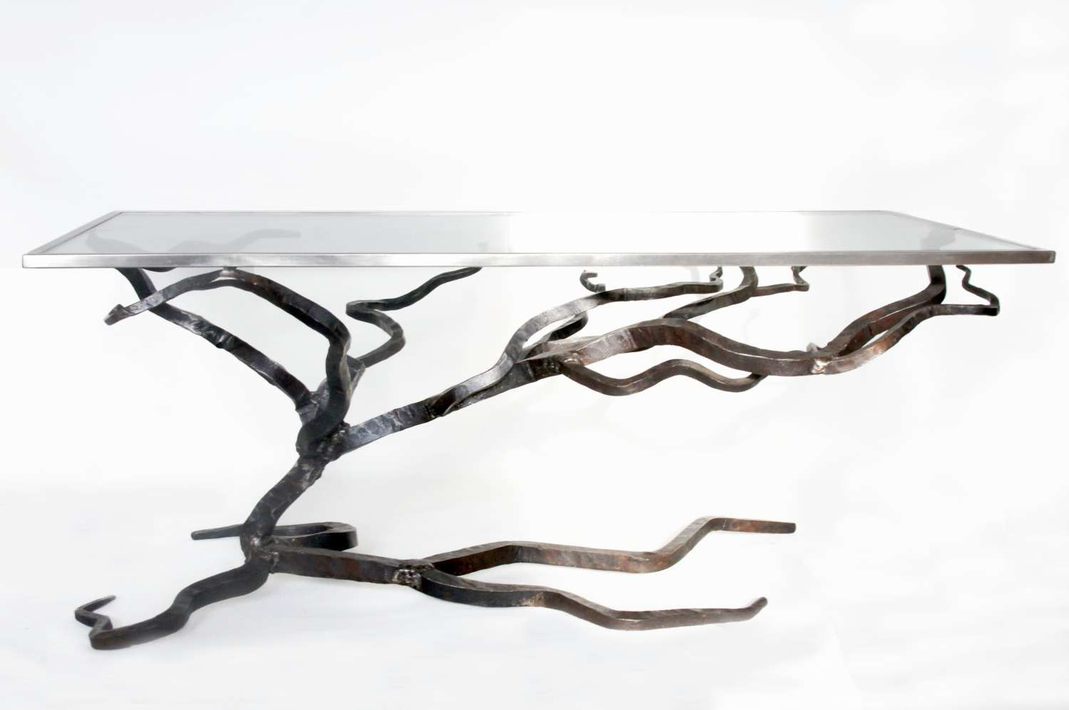 Glass And Metal Coffee Table Forged Sofa Table Blacksmiths Regarding Famous Metal Coffee Tables With Glass Top (View 5 of 20)