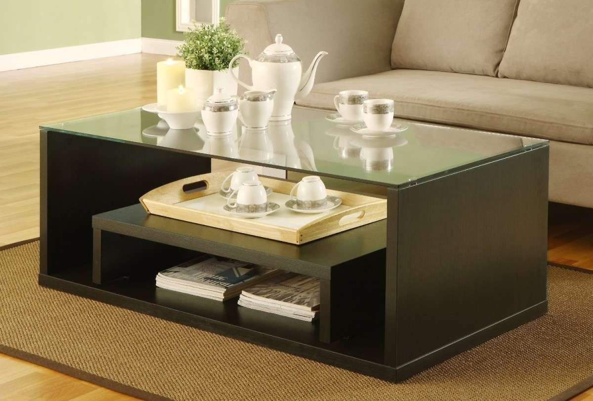 Glass And Wood Large Contemporary Coffee Tables : Large Pertaining To Most Popular Large Contemporary Coffee Tables (View 14 of 20)