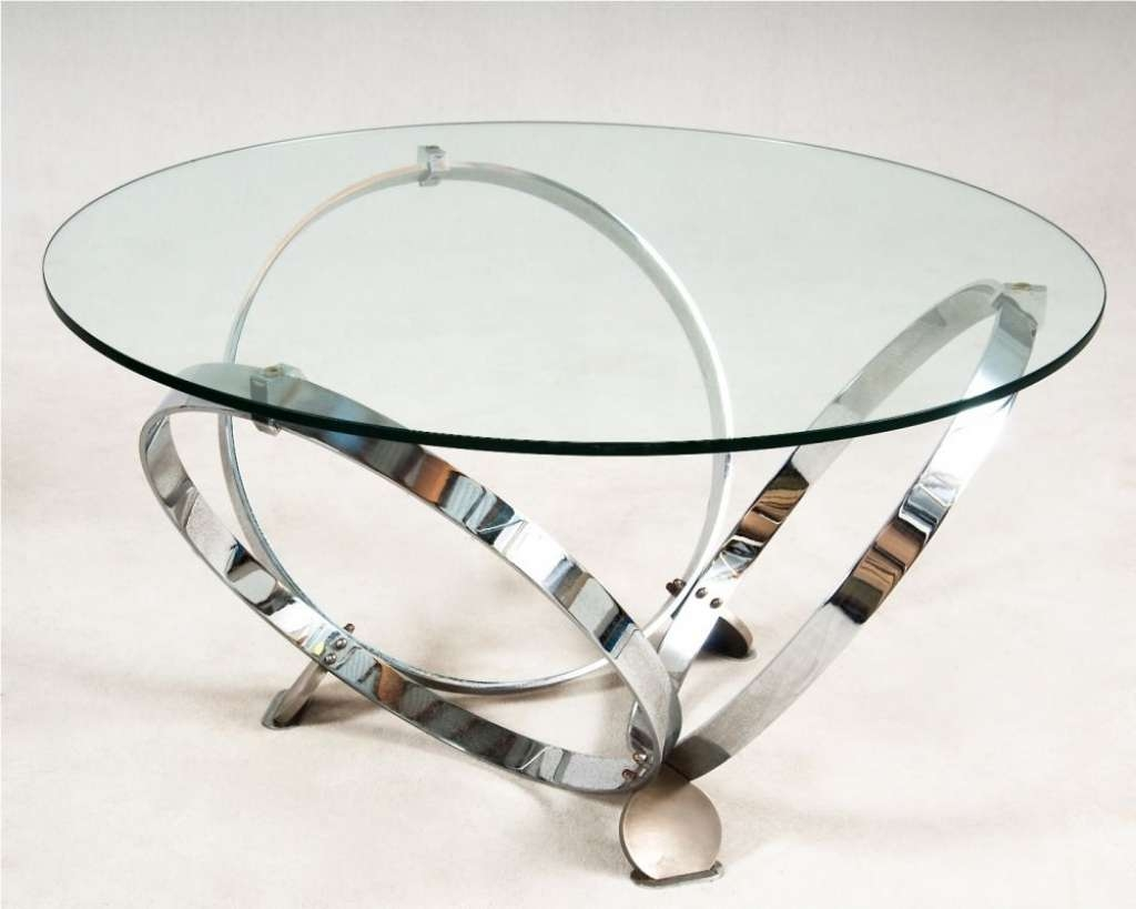 Glass Chrome Coffee Table / Coffee Tables / Thippo With Regard To Well Liked Unusual Glass Coffee Tables (View 4 of 20)