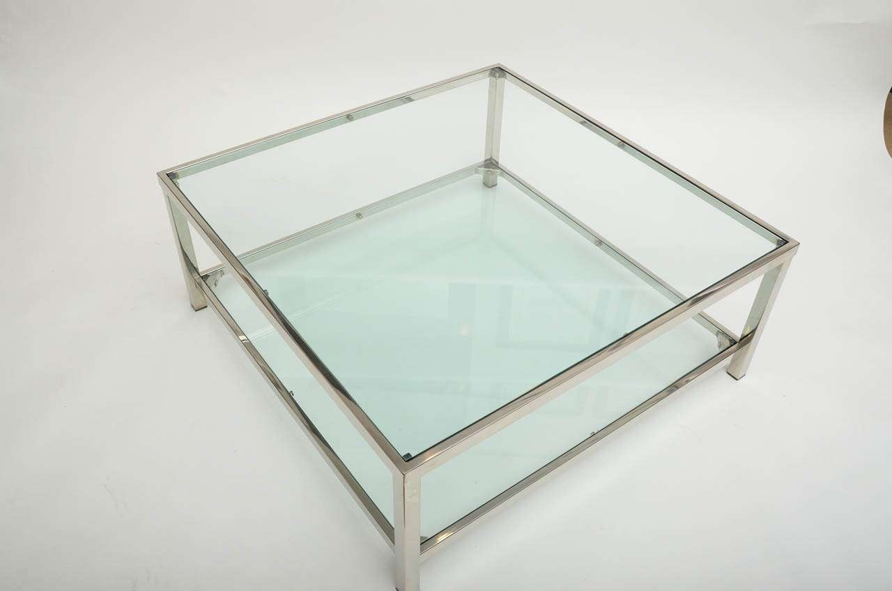 Glass Chrome Coffee Table In Well Liked Large Square Glass Coffee Tables (View 8 of 20)