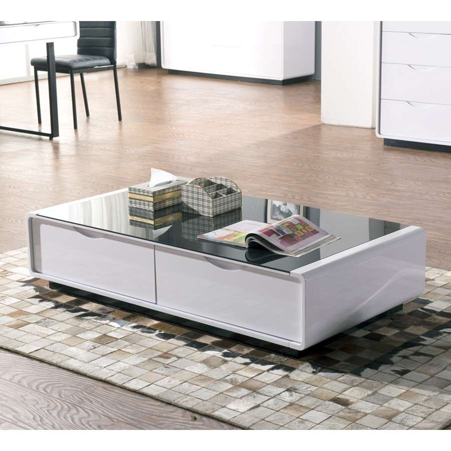 Glass Coffee Tables: Extraordinary White Coffee Table Glass Top With Regard To Most Up To Date White Coffee Tables With Storage (View 10 of 20)