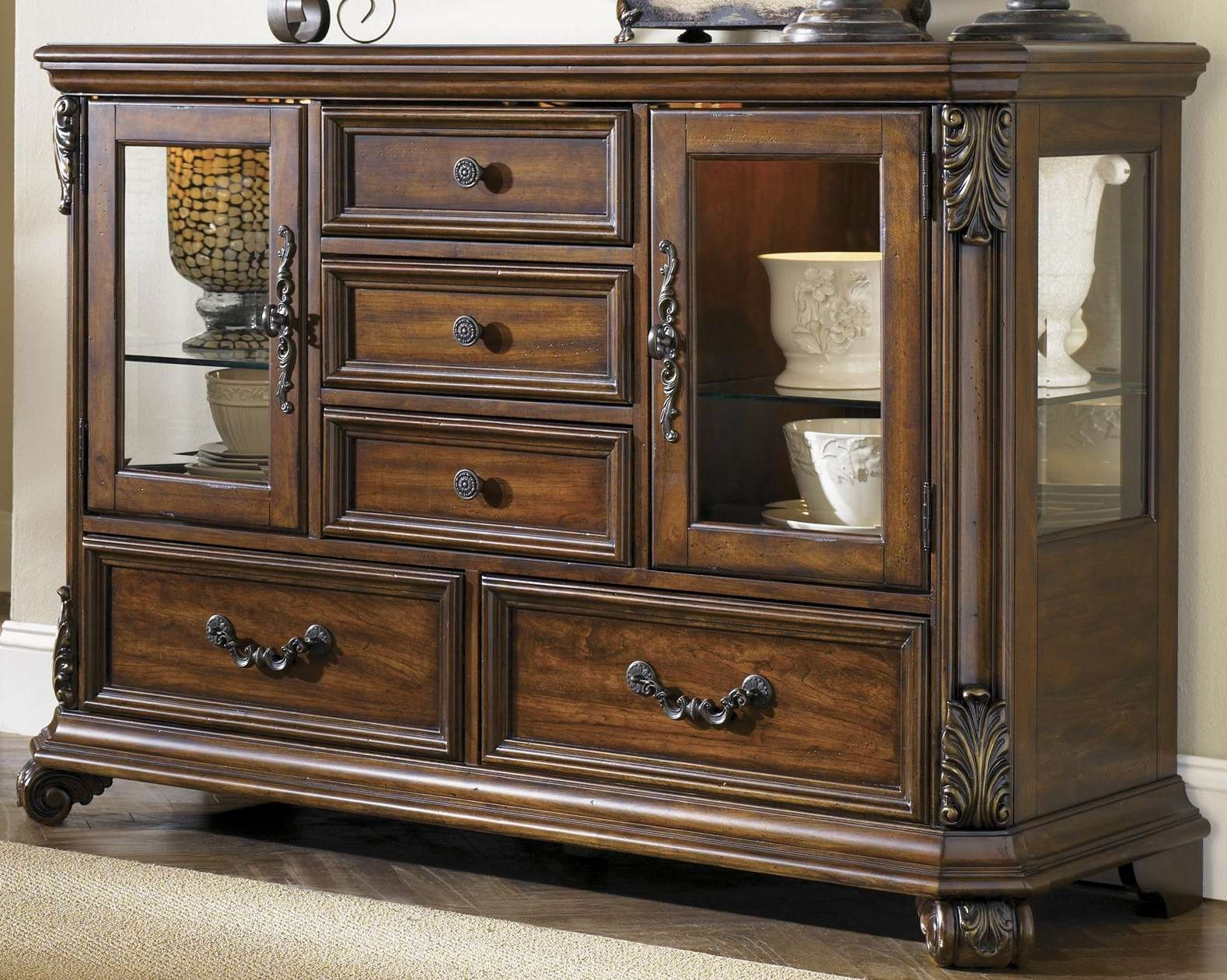 Glass Door Buffet Dining Serverliberty Furniture | Wolf And In Server Sideboards Furniture (View 12 of 20)