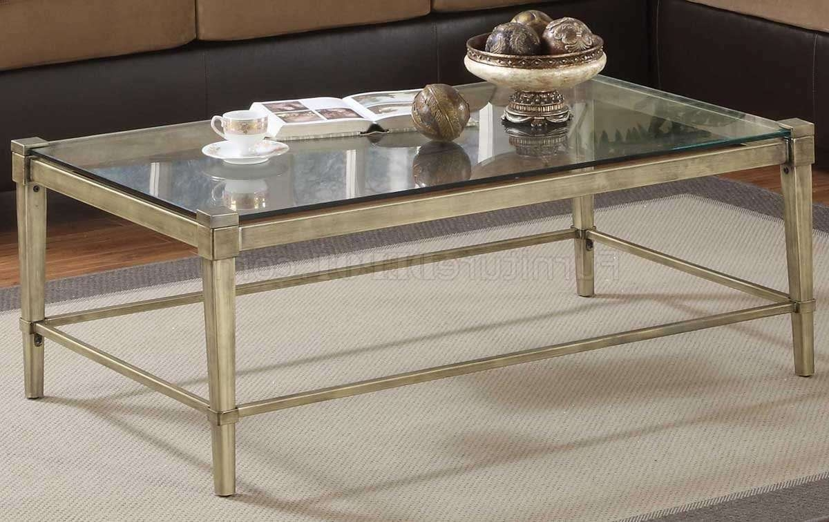 Glass Top Modern 3Pc Coffee Table Set W/metal Legs Pertaining To Famous Metal Coffee Tables With Glass Top (Gallery 1 of 20)