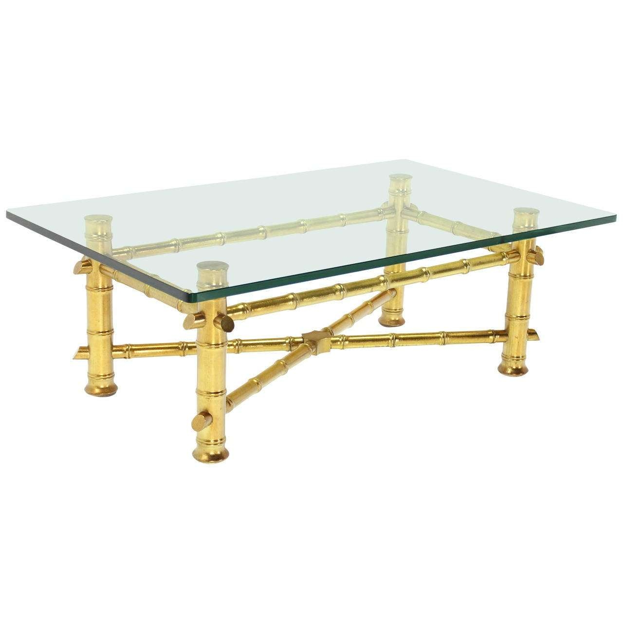 Gold Leaf Faux Bamboo Base Coffee Table With Thick Glass Top For With Most Current Thick Glass Coffee Table (View 8 of 20)