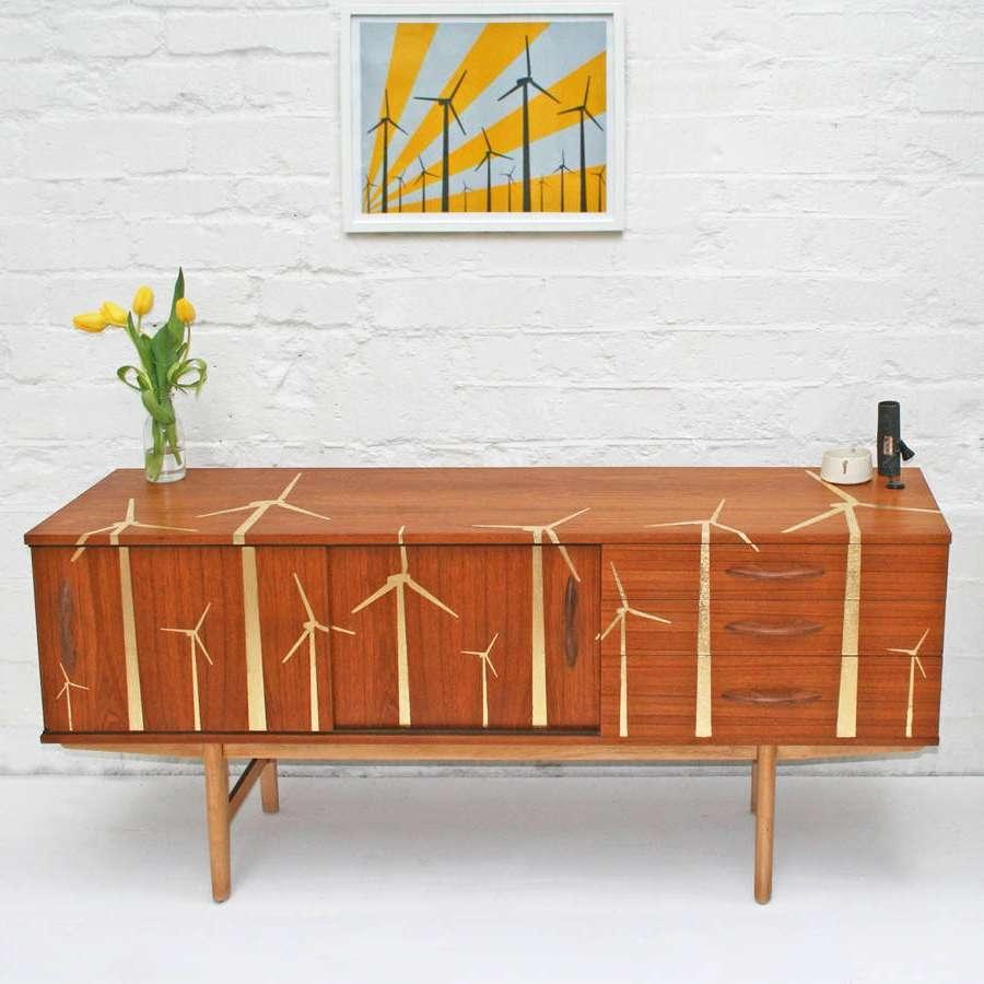 Gold Leaf 'wind Farm' Mid Century Sideboardscout & Boo Pertaining To Mid Century Sideboards (Gallery 2 of 20)