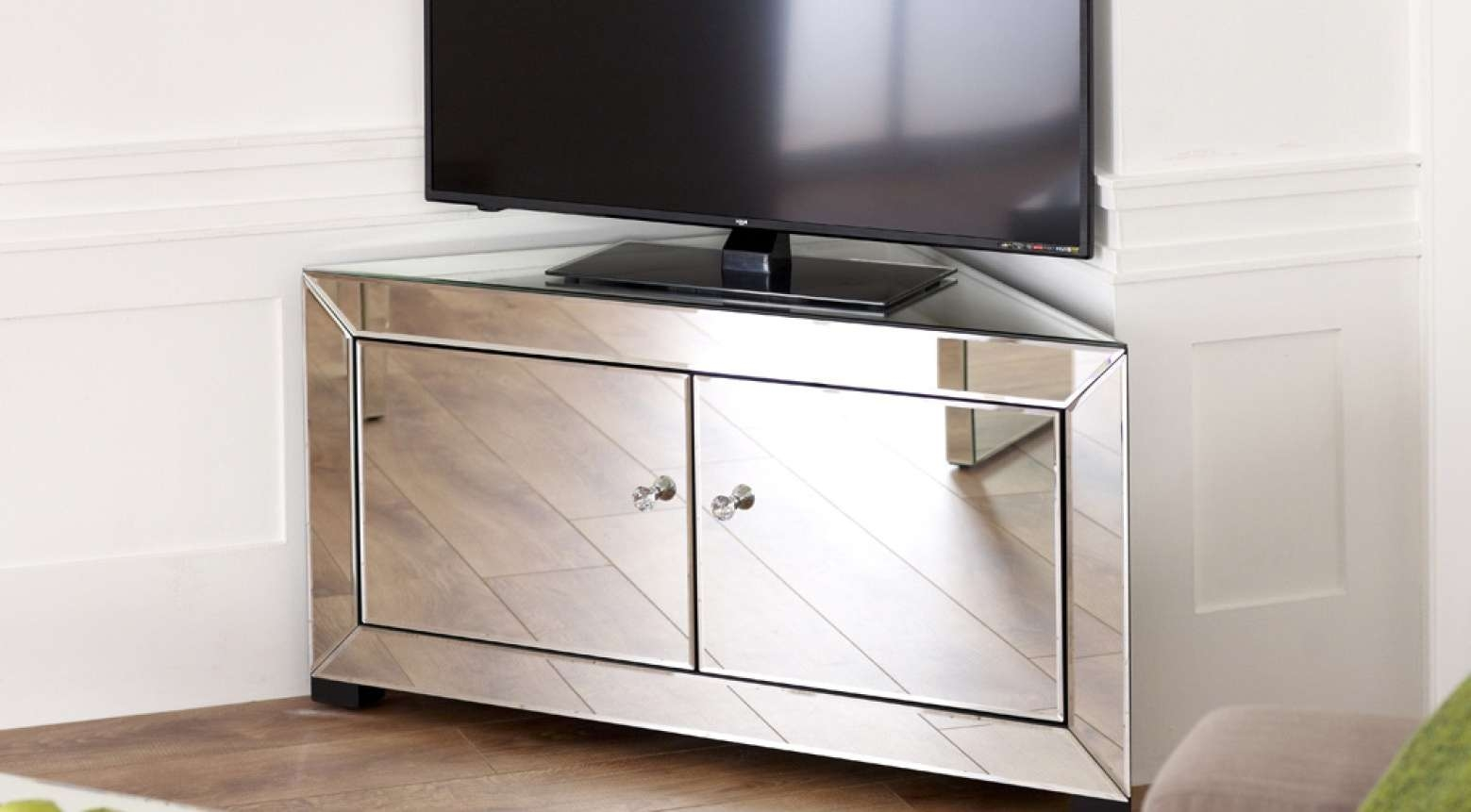 Gold Mirror Mdf Three Drawers And 4 Doors Console | Occasional Regarding Mirrored Tv Cabinets Furniture (View 19 of 20)