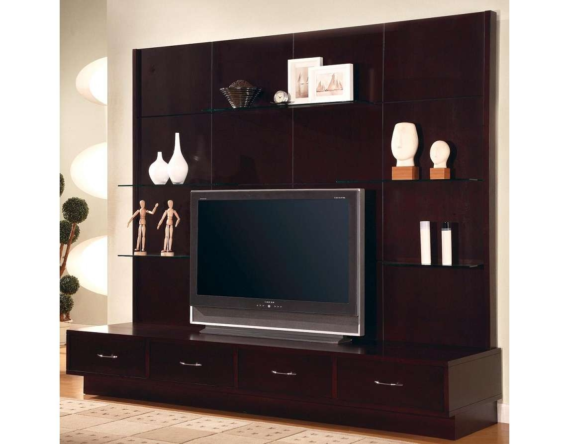 Good Looking Wooden Tv Stand Unit Idea In Dark Cherry Finish With In Wall Display Units And Tv Cabinets (View 14 of 20)