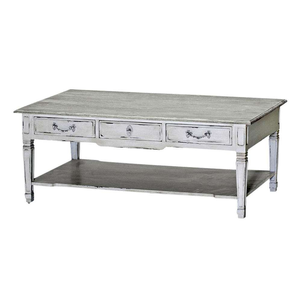 Grace French Country Antique White Shabby Chic Coffee Table For Most Up To Date French White Coffee Tables (View 7 of 20)