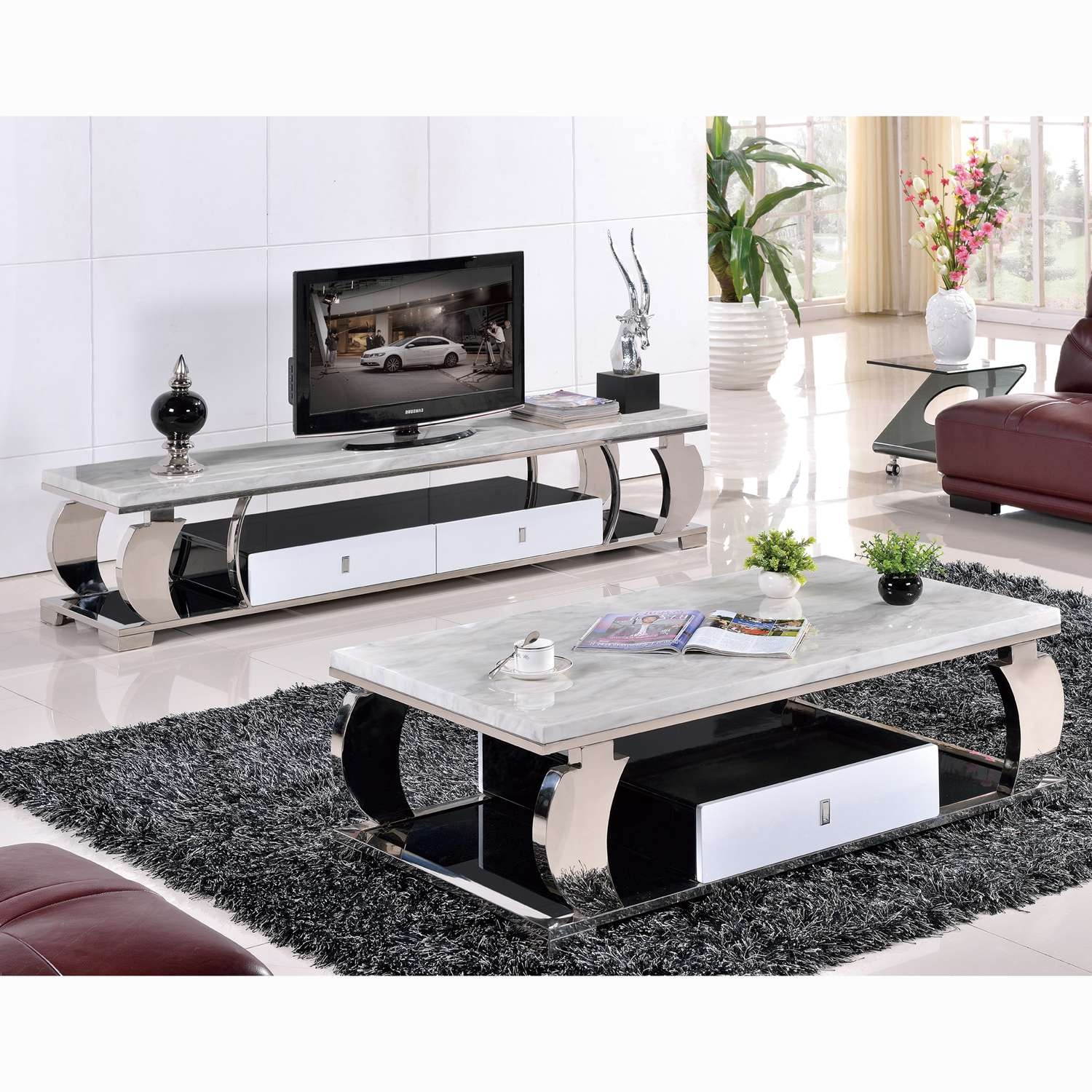 Grade Stainless Steel Marble Glass Coffee Table Tv Cabinet Modern Pertaining To Recent Tv Unit And Coffee Table Sets (View 18 of 20)