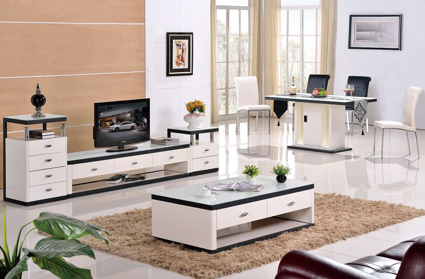 Grade Stainless Steel Paint Glass Coffee Table Tv Cabinet Fashion Throughout 2017 Tv Cabinet And Coffee Table Sets (View 14 of 20)