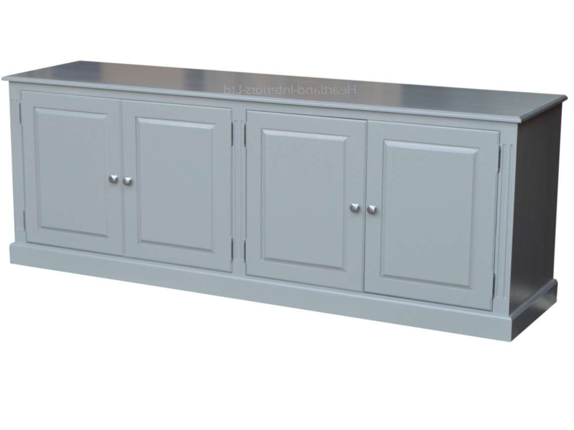 Grey, Cream Or White Painted 7Ft Wide Low Storage Wooden Sideboard Pertaining To Low Sideboards (View 7 of 20)