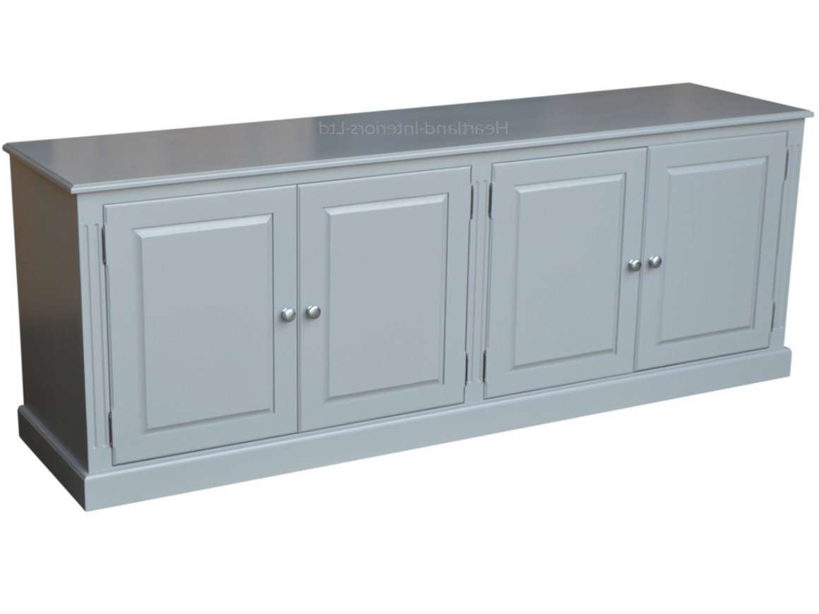 Grey, Cream Or White Painted 7Ft Wide Low Storage Wooden Sideboard Throughout Low Wide Sideboards (View 6 of 20)