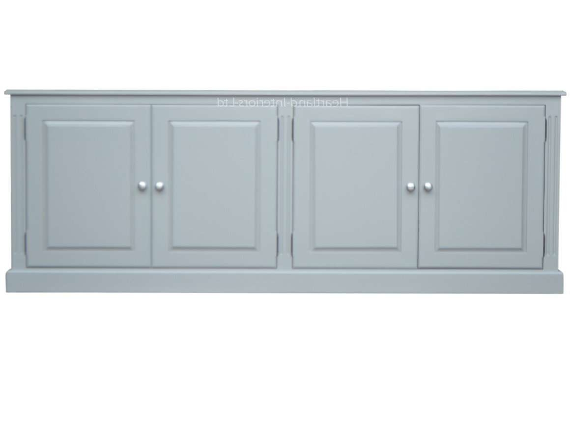 Grey, Cream Or White Painted 7Ft Wide Low Storage Wooden Sideboard Throughout Low Wide Sideboards (Gallery 11 of 20)