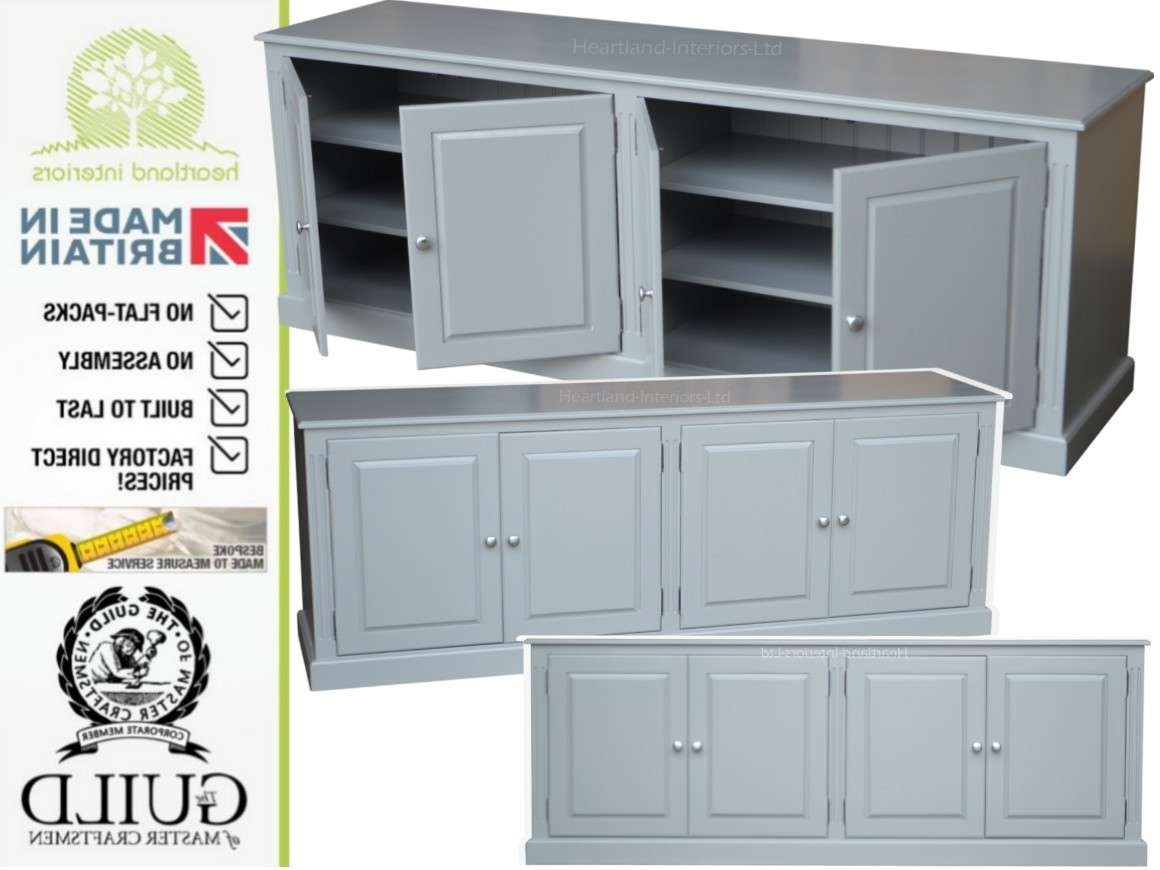 Grey, Cream Or White Painted 7ft Wide Low Storage Wooden Sideboard Throughout Low Wide Sideboards (View 19 of 20)