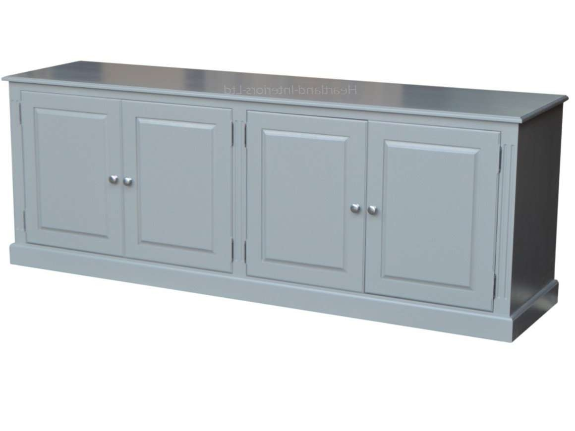 Grey, Cream Or White Painted 7Ft Wide Low Storage Wooden Sideboard Throughout Low Wide Sideboards (Gallery 2 of 20)