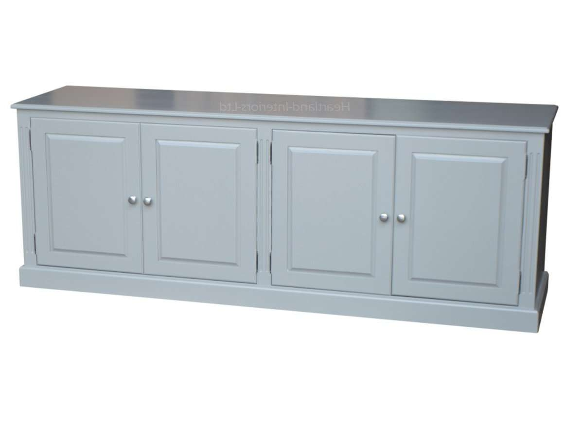 Grey, Cream Or White Painted 7ft Wide Low Storage Wooden Sideboard Within Low Wide Sideboards (View 6 of 20)
