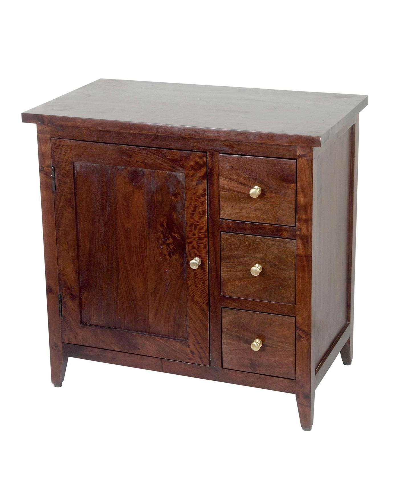 Groove Dark Shade Solid Mango Wood Small Sideboard With Drawers Intended For Small Dark Wood Sideboards (Gallery 1 of 20)