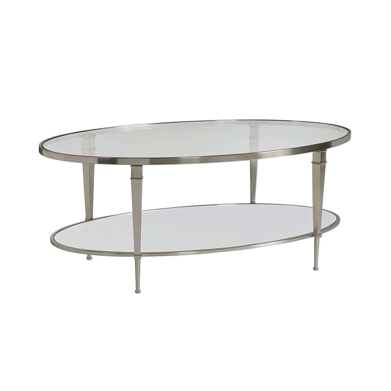 Hammary 173 912 Mallory Oval Cocktail Table In Satin Nickel For Best And Newest Antique Mirrored Coffee Tables (View 8 of 20)