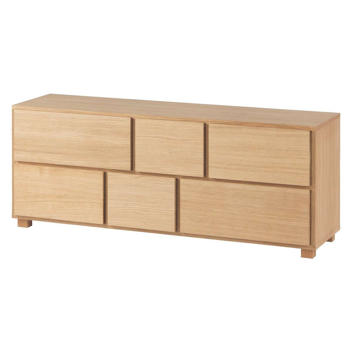 Hana Ii Oiled Oak 6 Drawer Low Wide Chest | Buy Now At Habitat Uk Inside Low Wooden Sideboards (View 3 of 20)