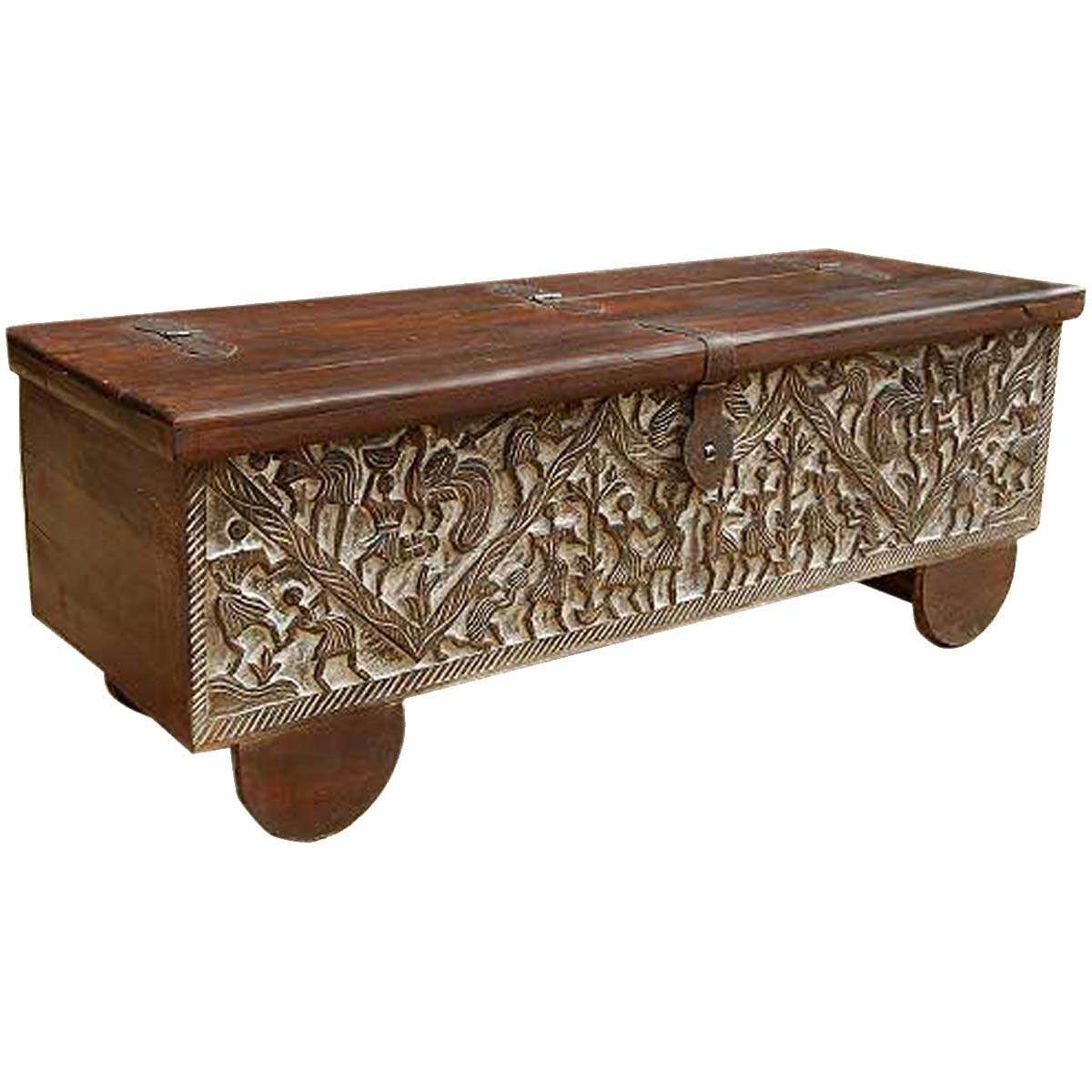Hand Carved Mango Wood Storage Trunk Coffee Table Within Most Up To Date Mango Wood Coffee Tables (View 7 of 20)