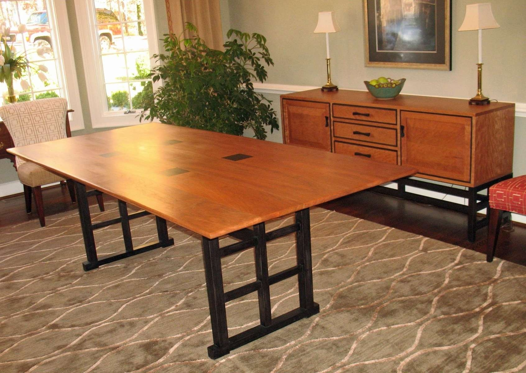 Hand Crafted Curly Cherry Dining Table And Sideboardgo Figured In Dining Room Sets With Sideboards (View 16 of 20)