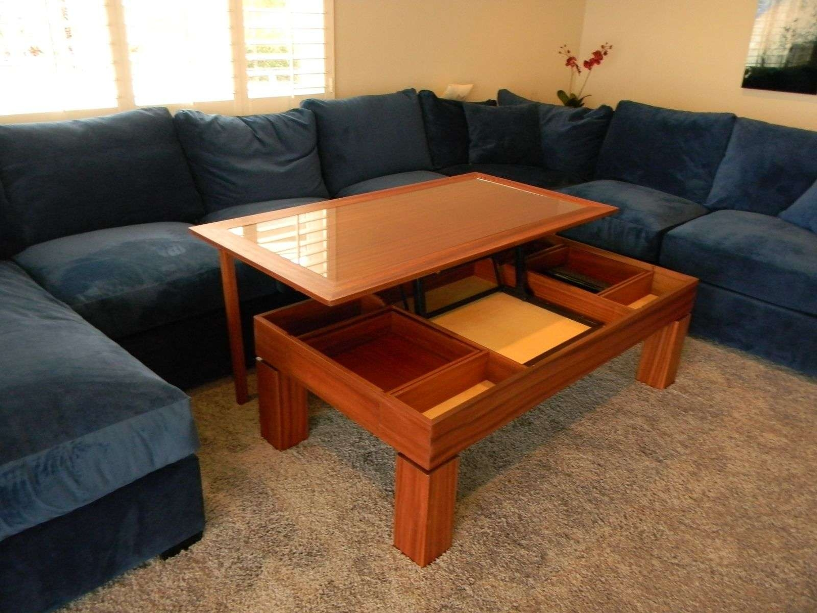 Hand Crafted Glass Top Lift Top Coffee/ Dining Tableantikea Inside Favorite Flip Top Coffee Tables (View 7 of 20)