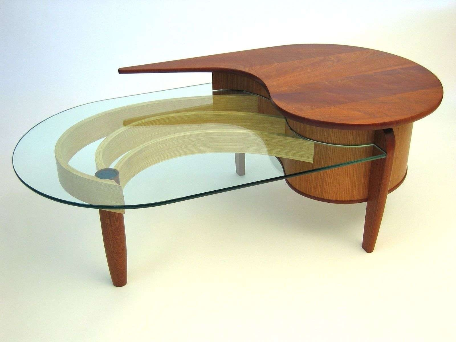 Hand Crafted Mahogany, Cherry And Glass Coffee Tabledogwood In Favorite Oval Shaped Glass Coffee Tables (View 12 of 20)