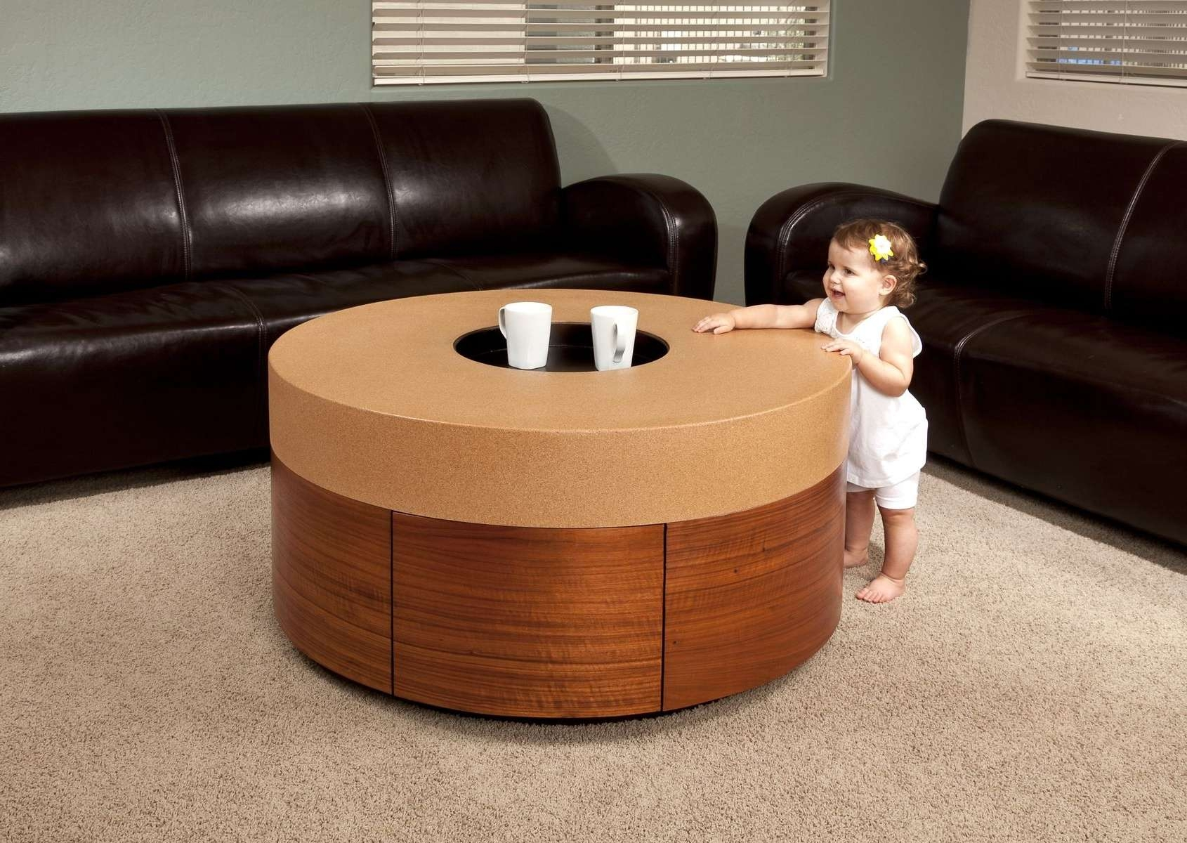 Hand Made Cork And Wood Veneer Coffee Tablebig Haus Design Llc Within Most Up To Date Kids Coffee Tables (View 7 of 20)