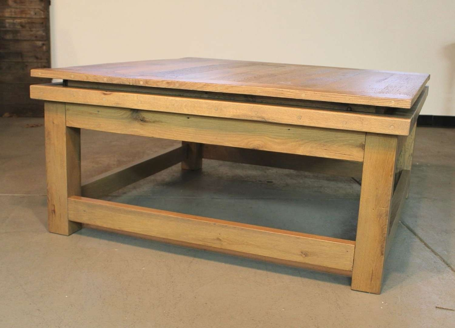 Hand Made Custom Square Oak Coffee Table From Reclaimed Oak In Well Known Reclaimed Oak Coffee Tables (Gallery 3 of 20)