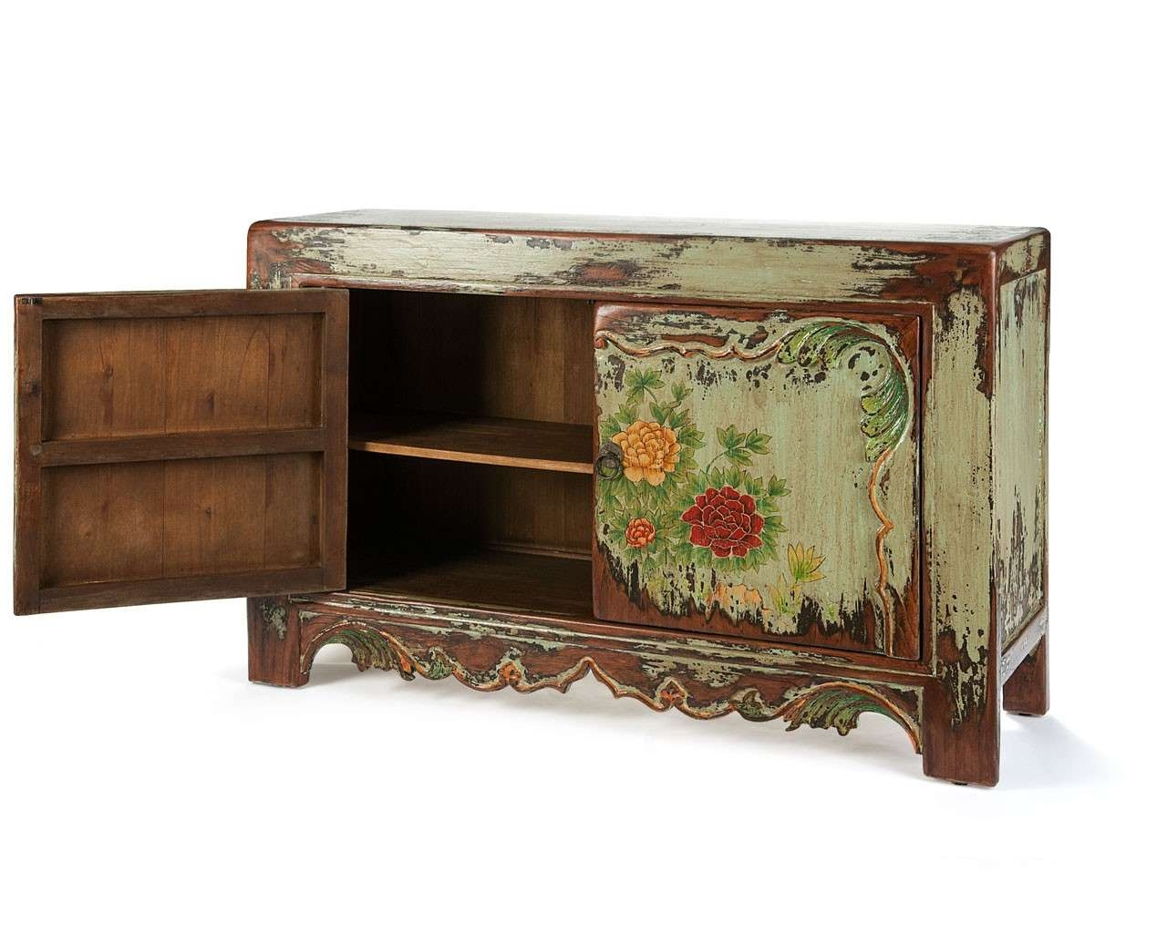 Hand Painted Sideboard – Solid Wooden Furniture – Puji Throughout Hand Painted Sideboards (View 7 of 20)