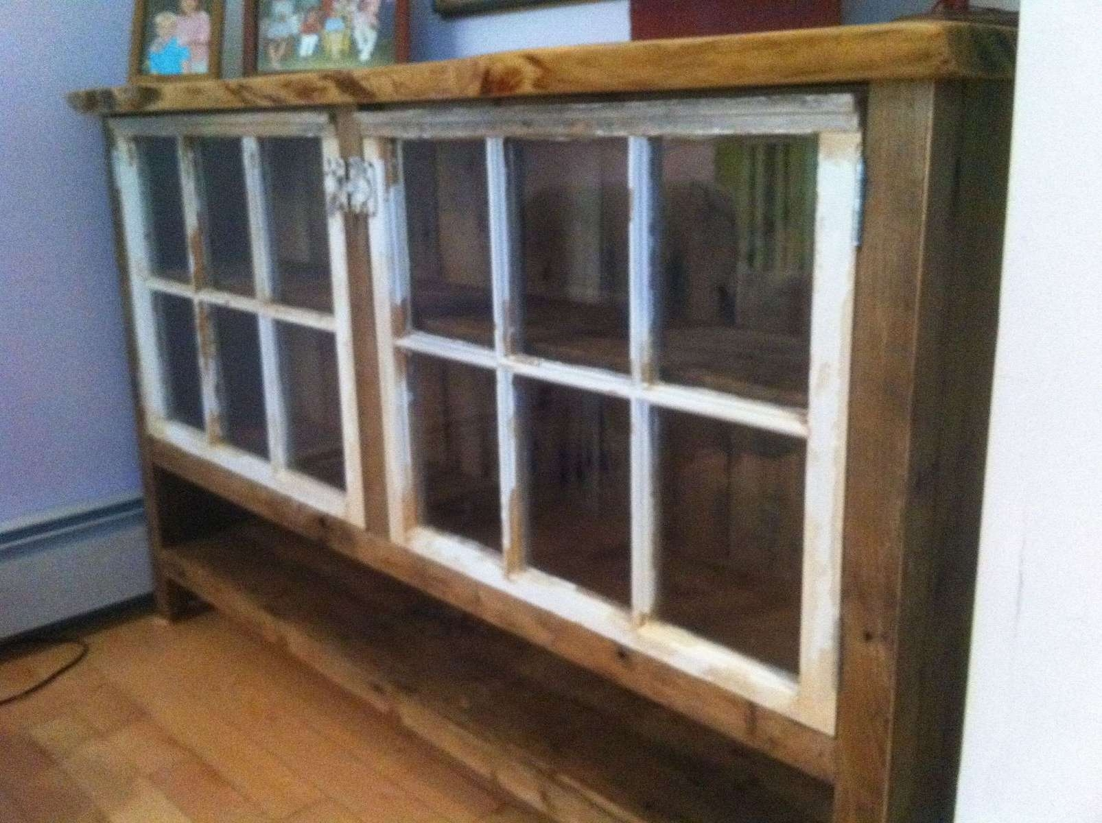 Handmade Reclaimed Wood Sideboard With Recycled Windowswooden For Reclaimed Wood Sideboards (View 5 of 20)