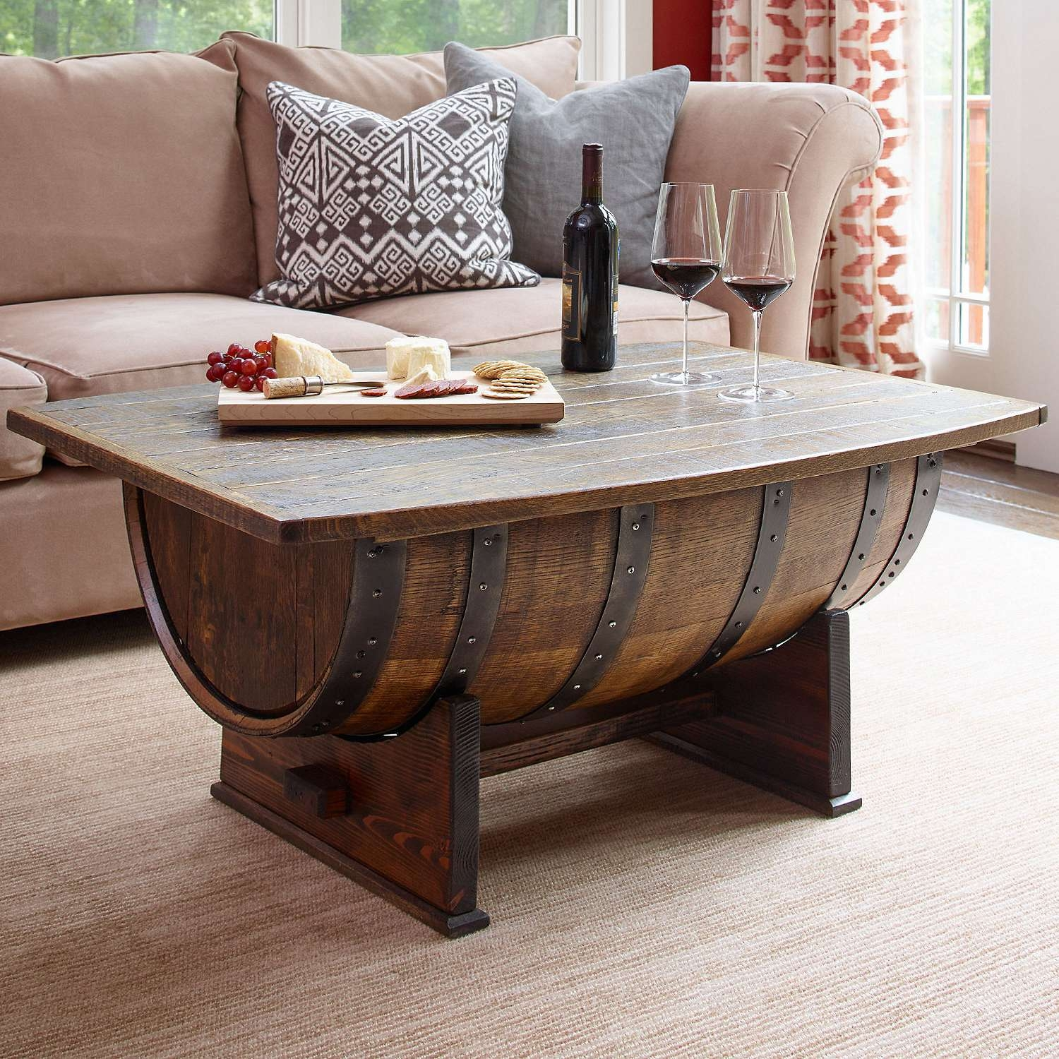 Handmade Vintage Oak Whiskey Barrel Coffee Table – Wine Enthusiast For Recent Dining Coffee Tables (View 6 of 20)