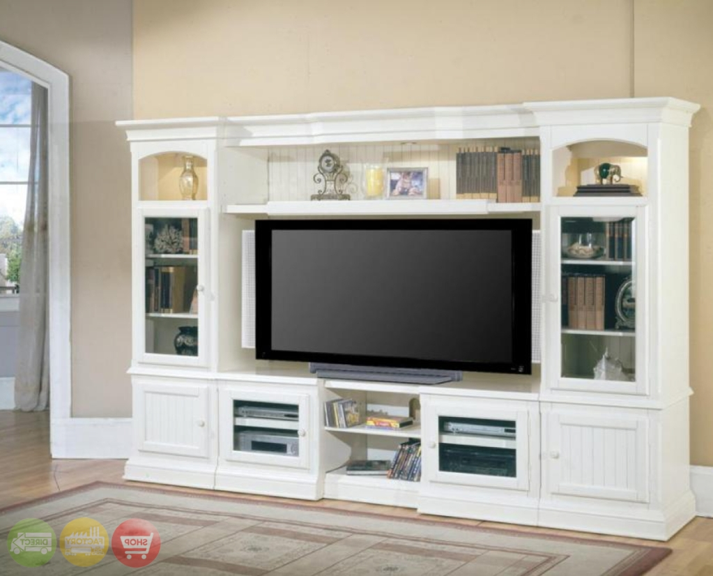 Hartford 4 Piece Traditional Vintage White Wall Unit Tv Pertaining To Country Style Tv Cabinets (View 5 of 20)