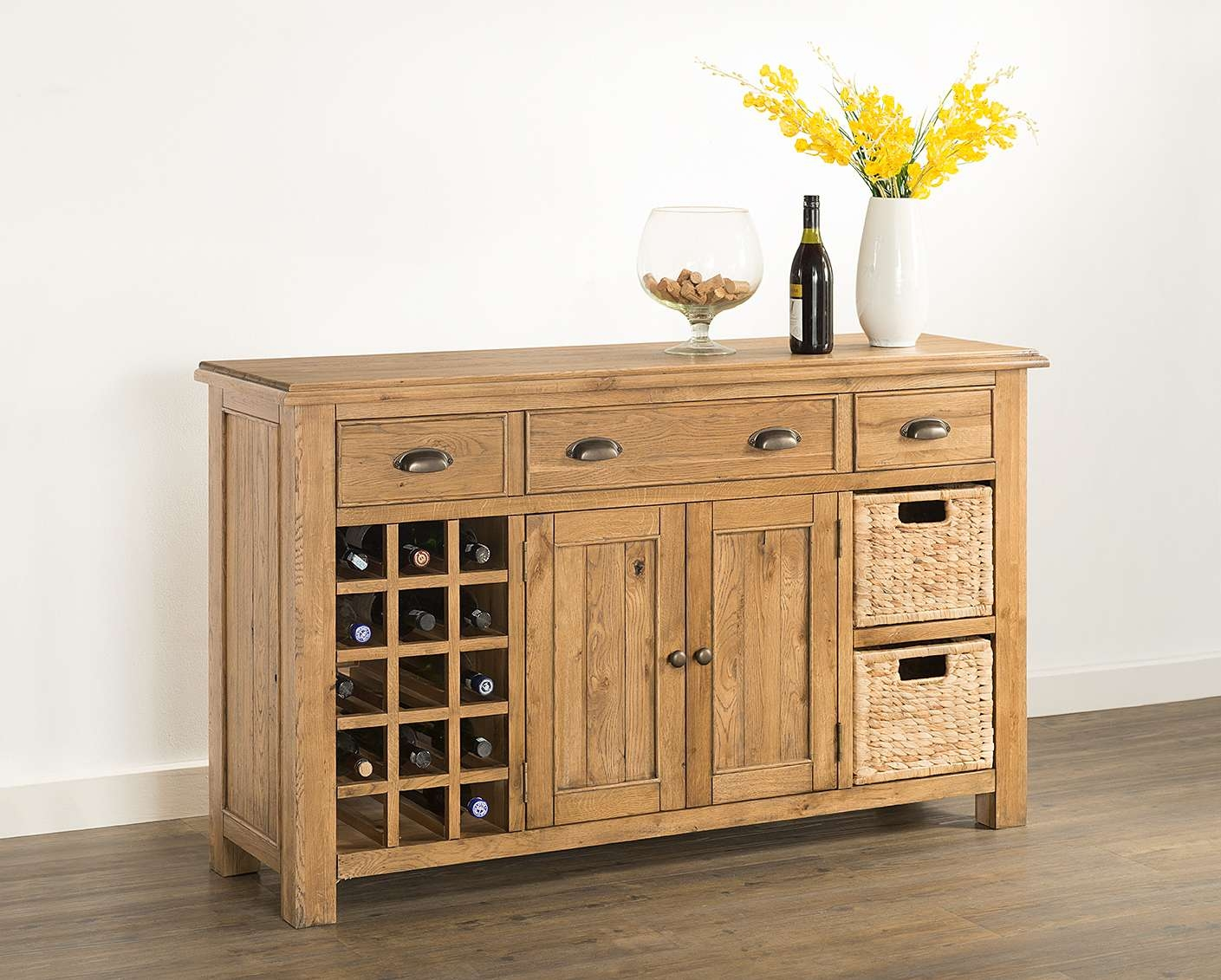 Hartford Large Sideboard With Wine Rack & Baskets (60 15) – Papaya Intended For Sideboards With Wine Rack (View 6 of 20)