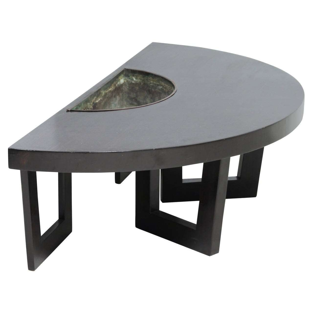 Harvey Probber Semi Circle Coffee Table With Inserted Copper Inside Latest Circle Coffee Tables (View 11 of 20)