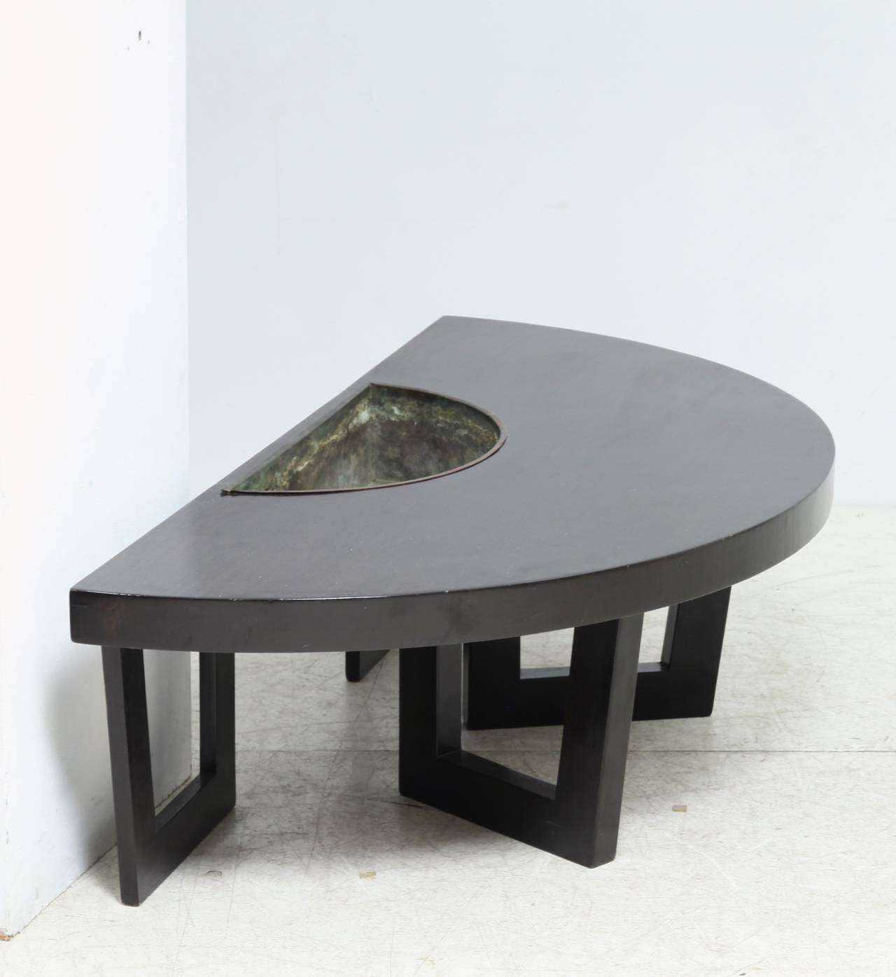 Harvey Probber Semi Circle Coffee Table With Inserted Copper Intended For Well Liked Large Round Low Coffee Tables (View 11 of 20)