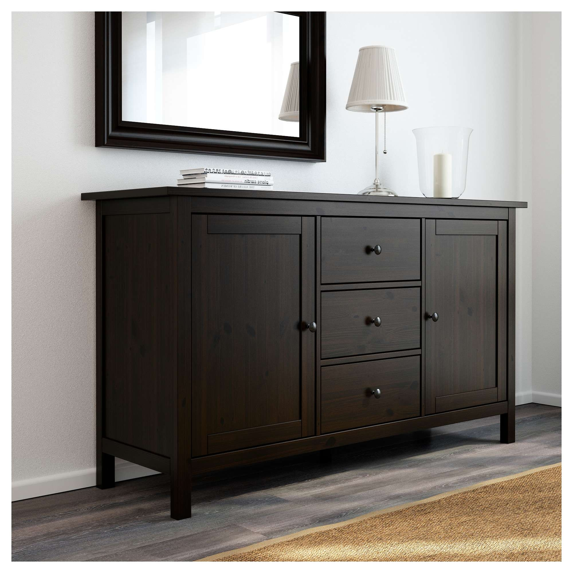 Hemnes Sideboard Black Brown 157X88 Cm – Ikea Pertaining To Dark Wood Sideboards (View 6 of 20)