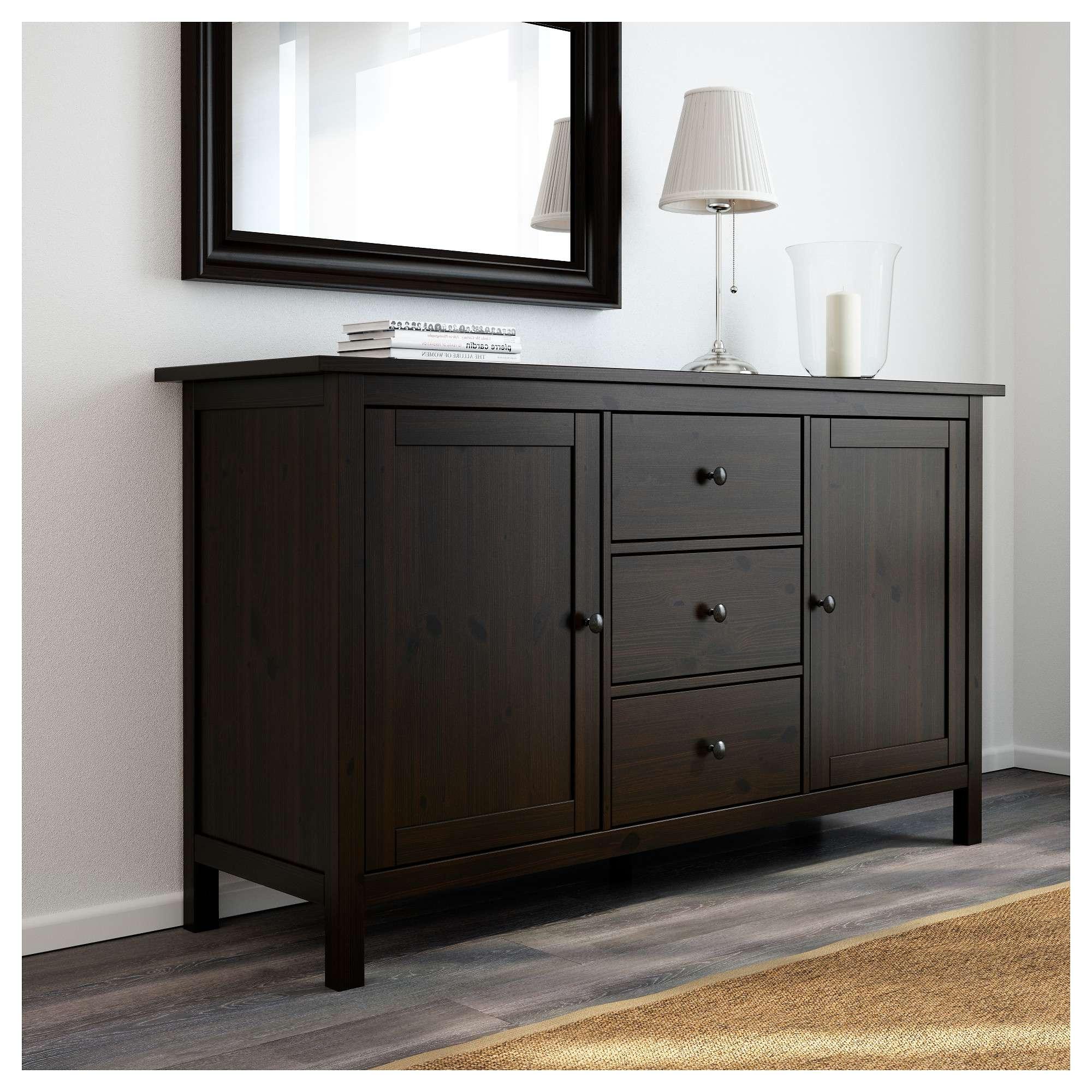 Hemnes Sideboard Black Brown 157x88 Cm – Ikea Pertaining To Dark Wood Sideboards (View 8 of 20)