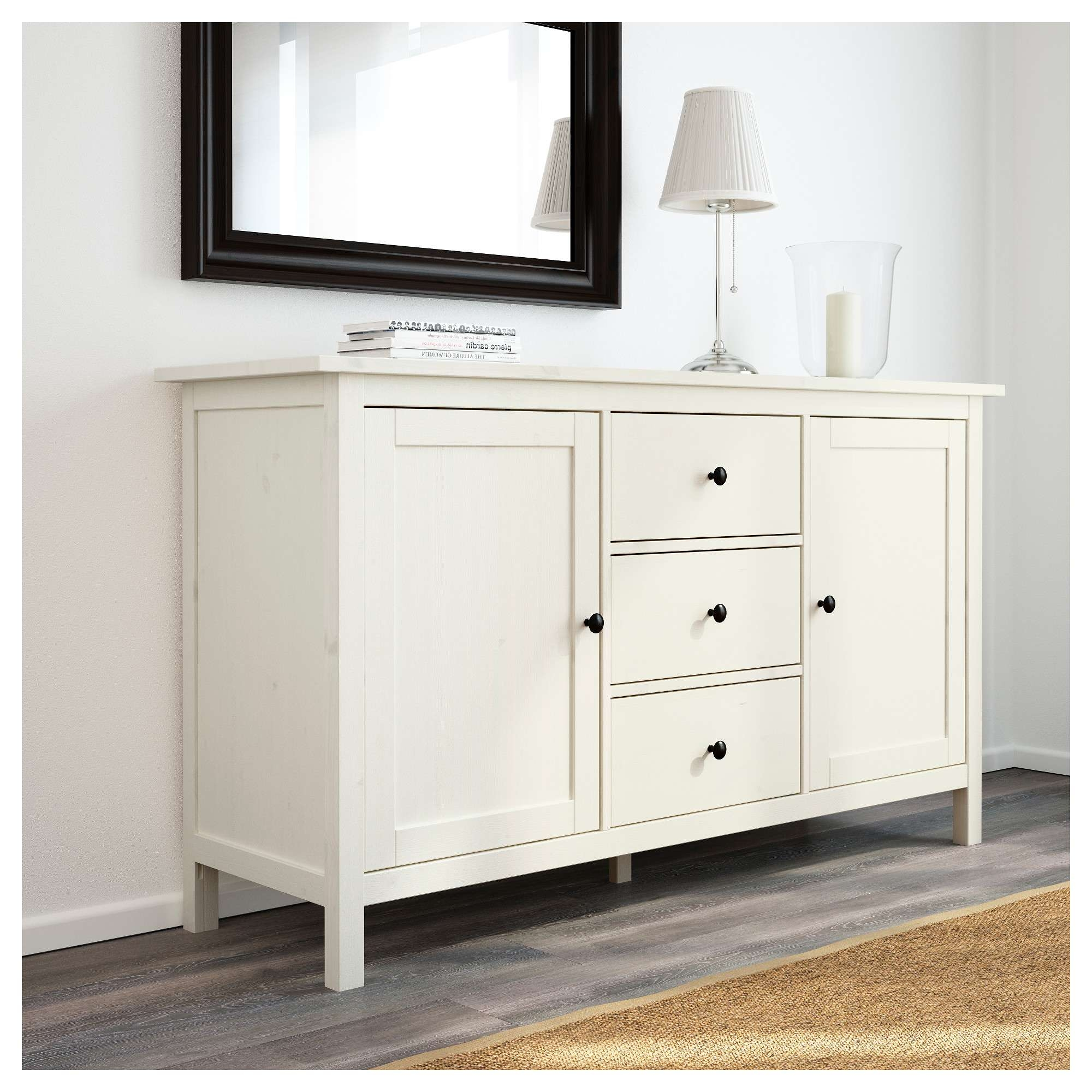 Hemnes Sideboard White Stain 157X88 Cm – Ikea Pertaining To White Wood Sideboards (View 7 of 20)