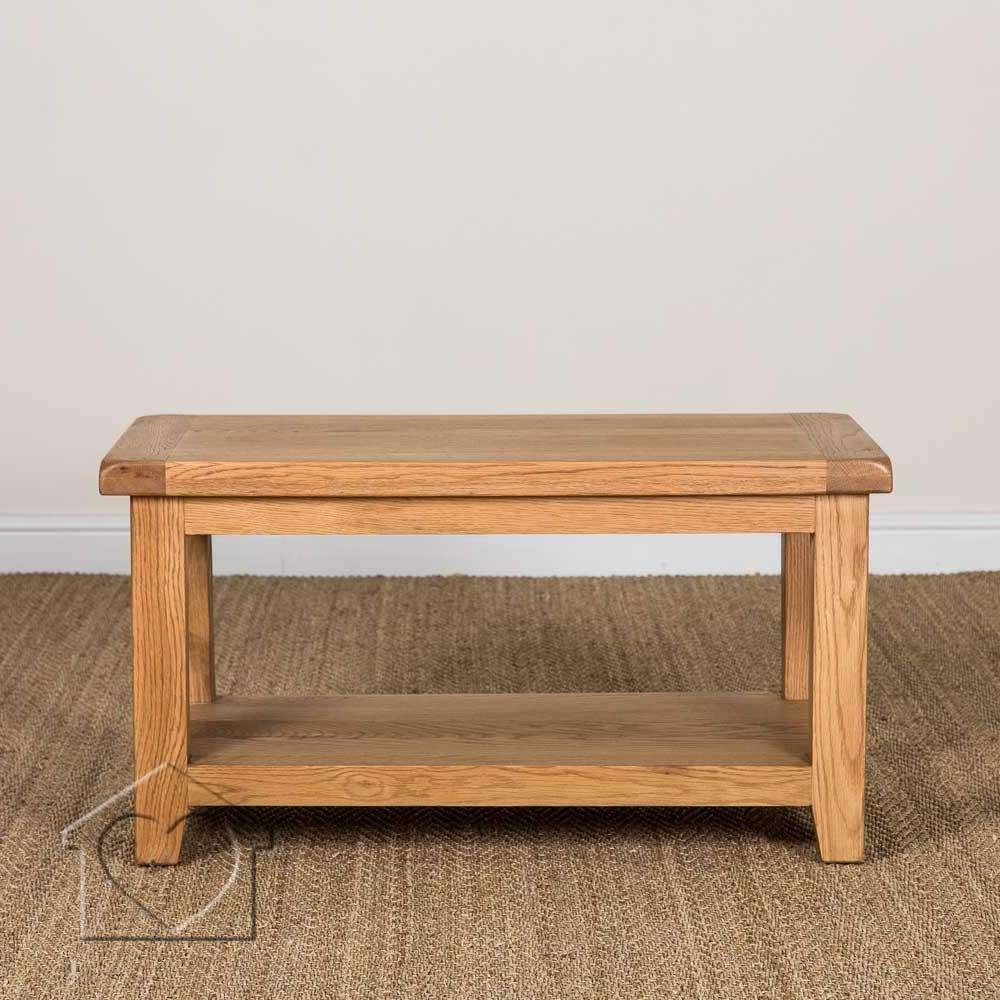 Heritage Rustic Oak Coffee Table With Shelf – £ (View 10 of 20)