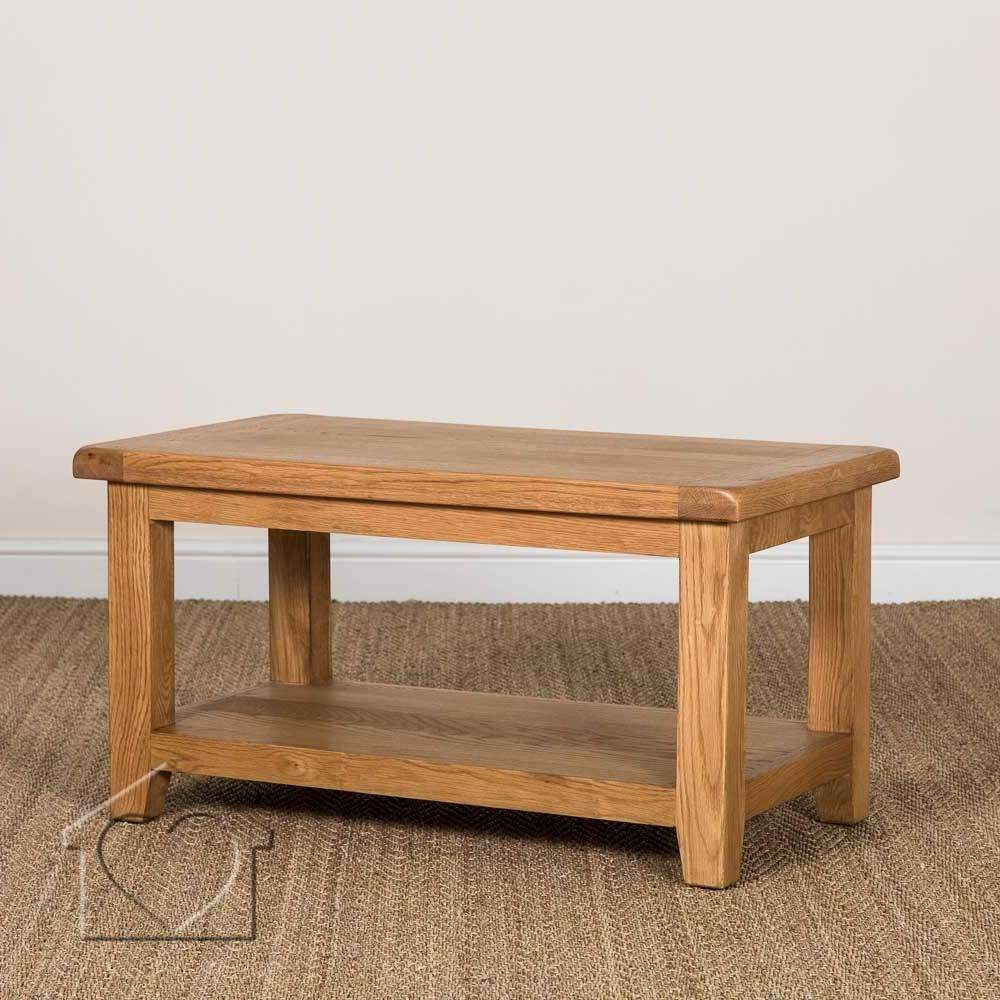 Heritage Rustic Oak Coffee Table With Shelf – £ (View 9 of 20)