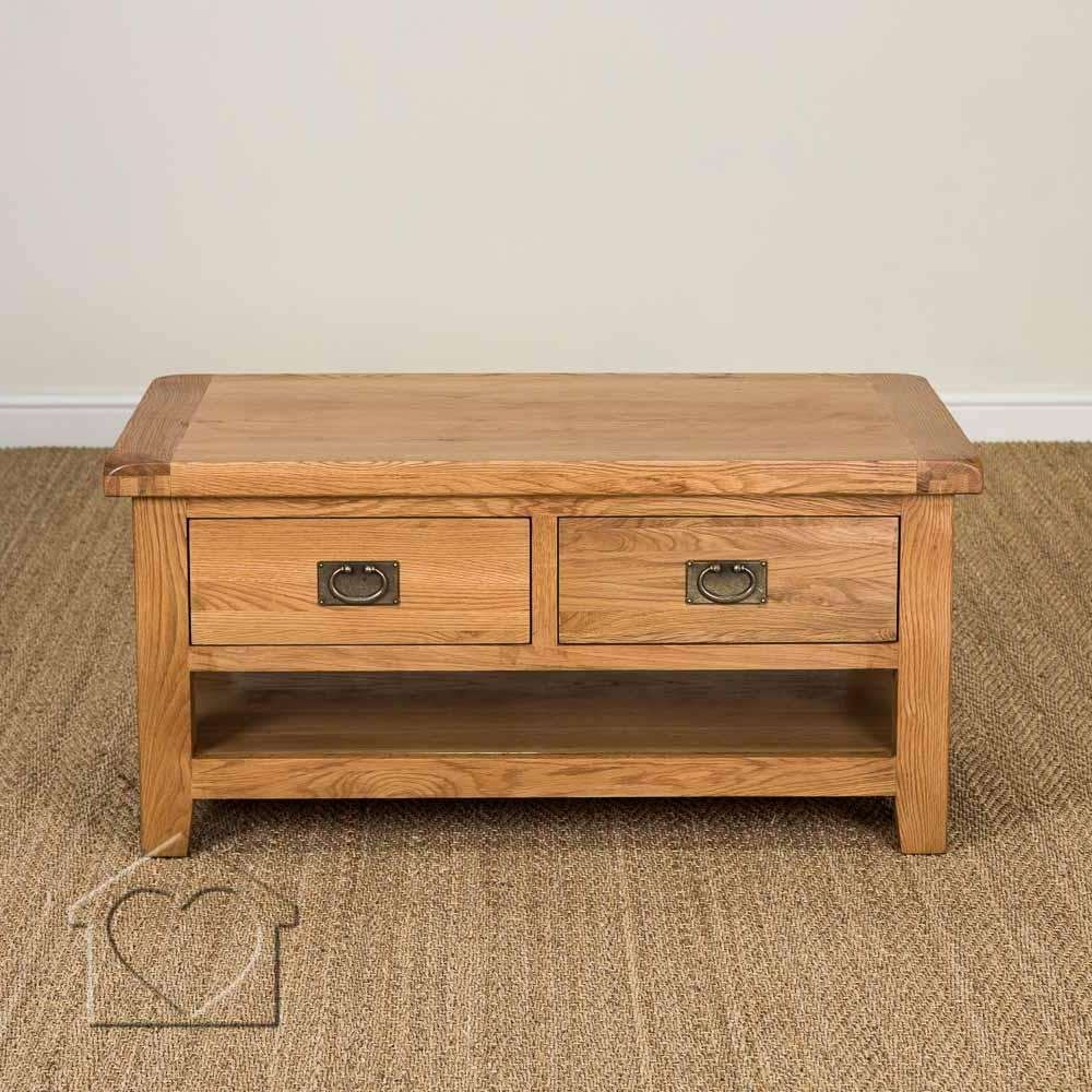 Heritage Rustic Oak Large Coffee Table With 2 Drawers And Shelf Throughout Famous Oak Coffee Tables With Shelf (View 10 of 20)