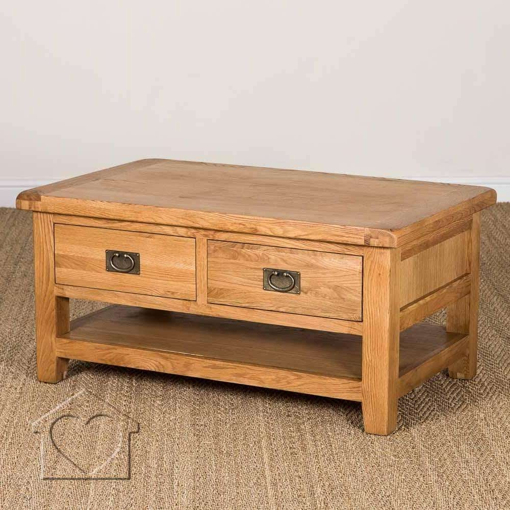 Heritage Rustic Oak Large Coffee Table With 2 Drawers & Shelf With Famous Rustic Oak Coffee Table With Drawers (Gallery 15 of 20)