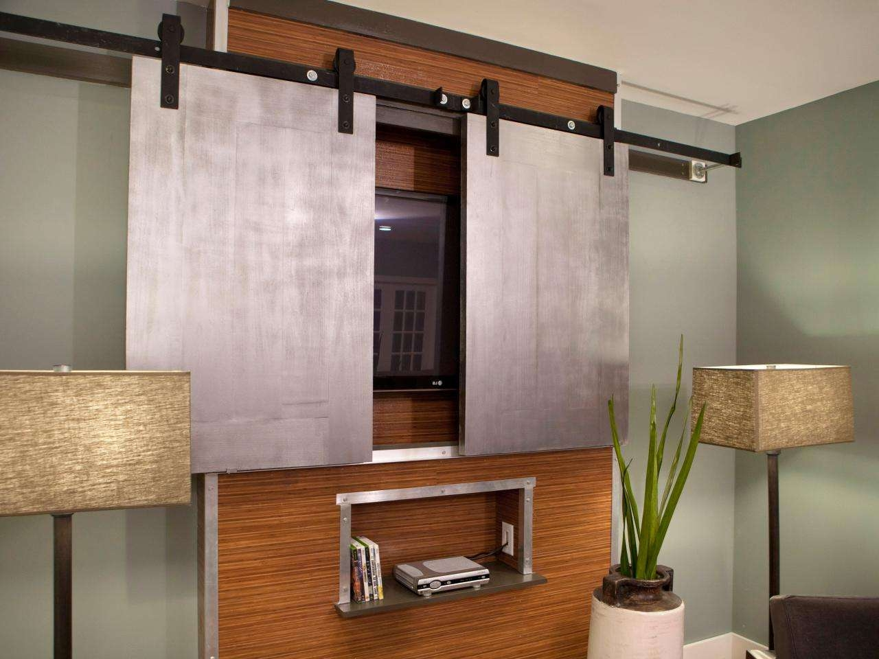 Hidden Flat Screen Tv Wall Cabinet Made Of Particle Wood In Brown Intended For Wall Mounted Tv Cabinets With Doors (View 6 of 20)