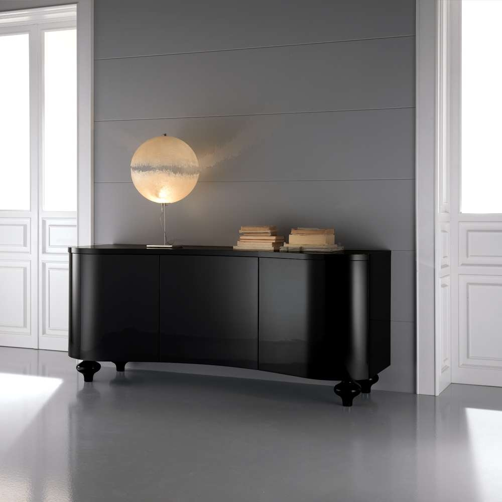 High End Designer Italian Black Buffet Sideboard | Juliettes Regarding Black Sideboards (View 11 of 20)