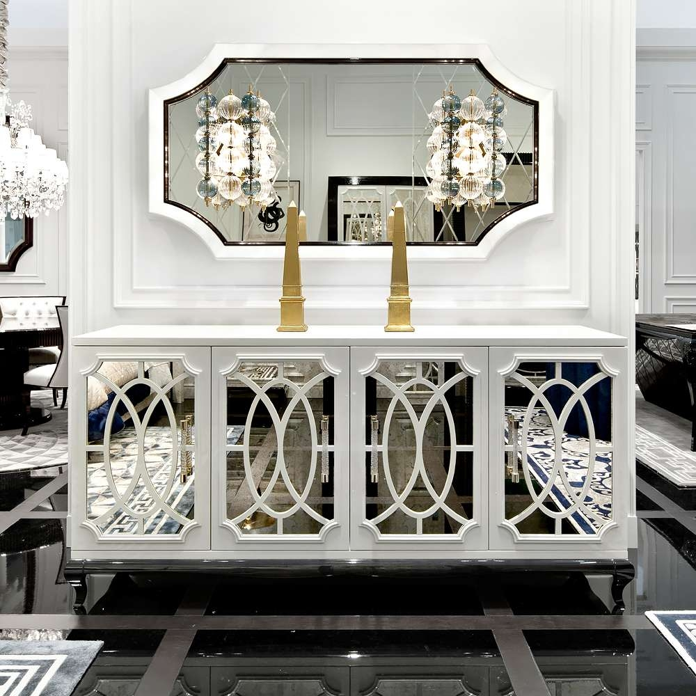 High End Italian White Fretwork Mirrored Sideboard | Juliettes Intended For Mirrored Sideboards (View 4 of 20)