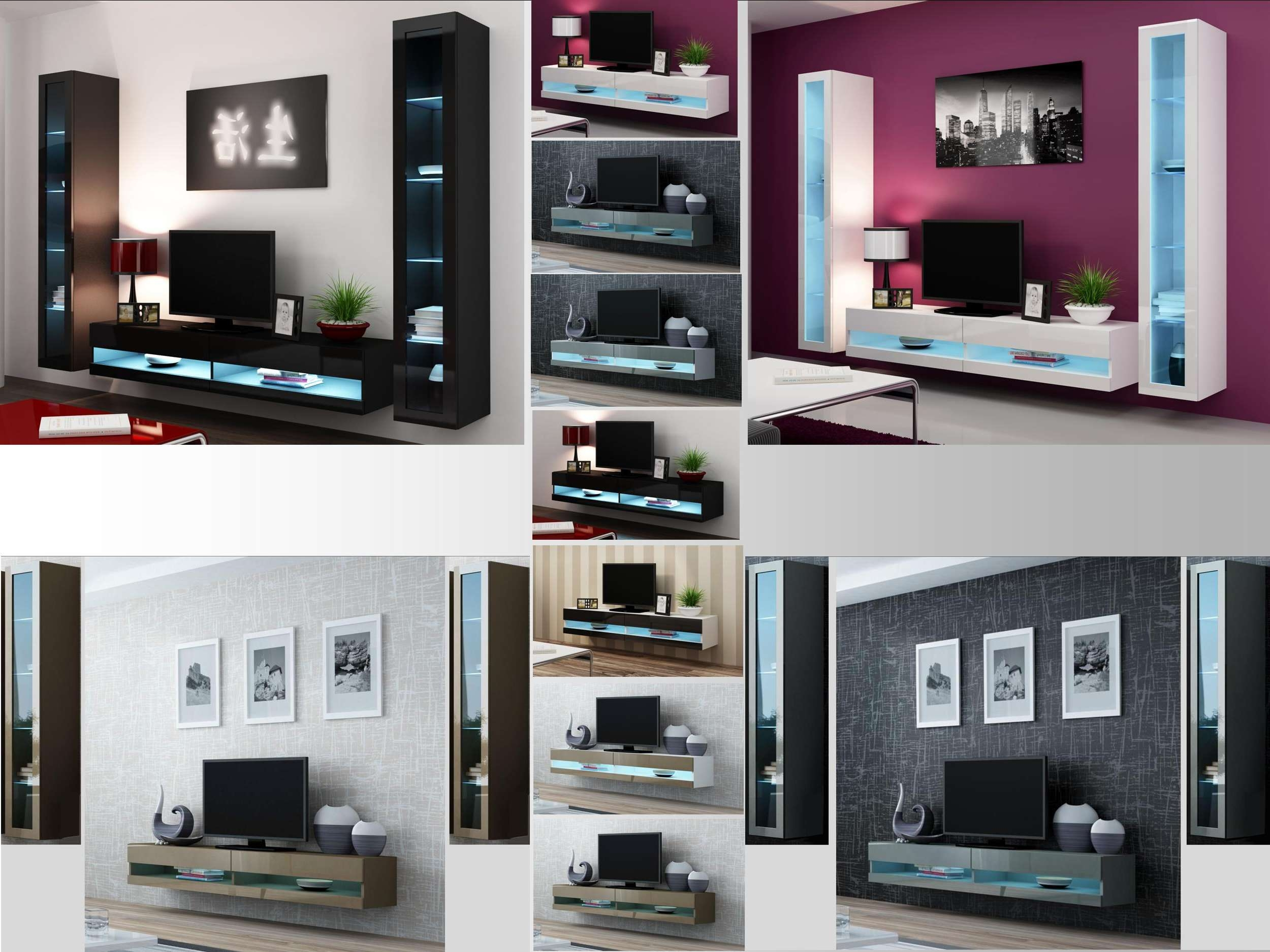 High Gloss Living Room Set With Led Lights, Tv Stand, Wall Mounted Pertaining To Wall Display Units And Tv Cabinets (View 13 of 20)
