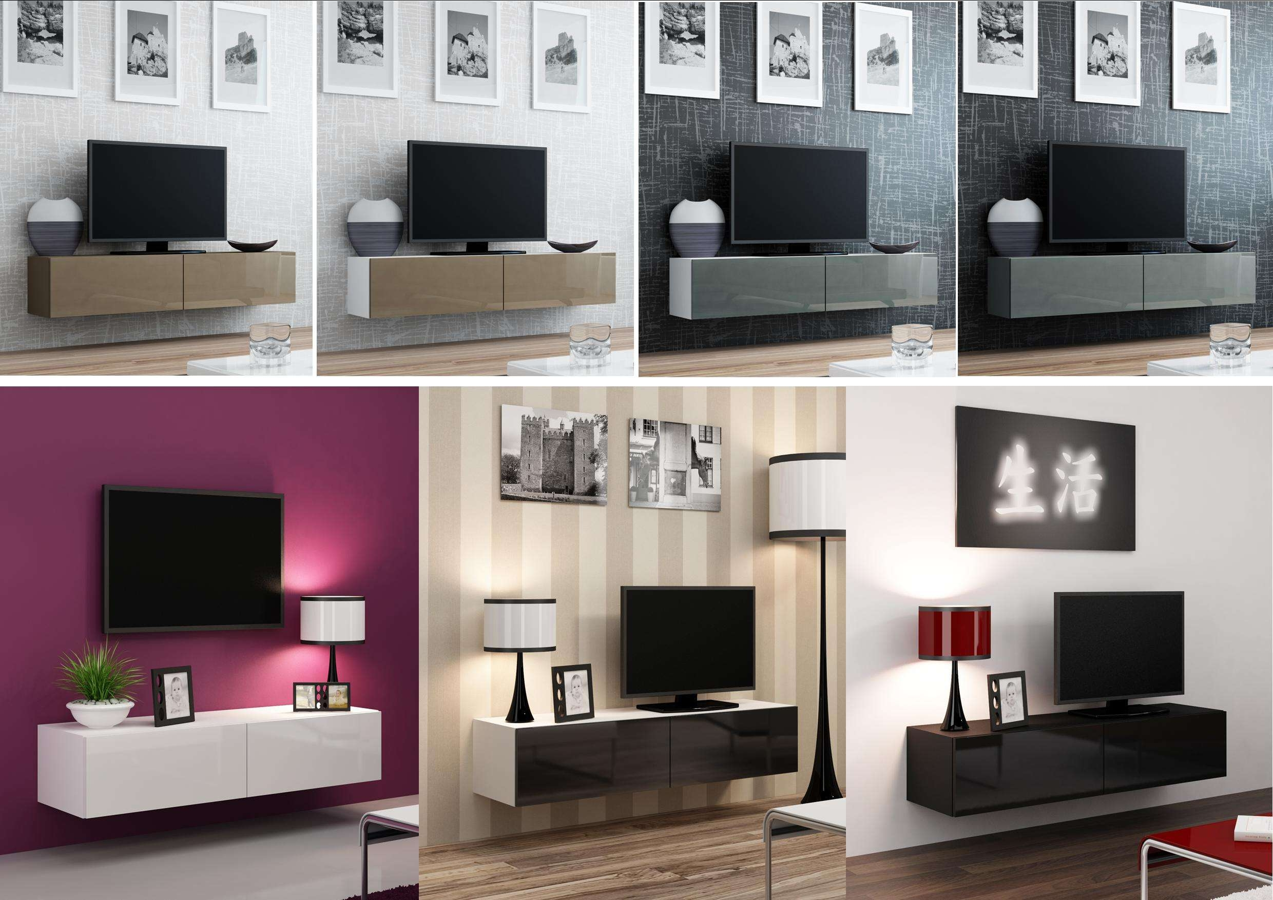 High Gloss Tv Stand Cabinet Wall Mountable | Floating Within High Gloss Tv Cabinets (View 9 of 20)