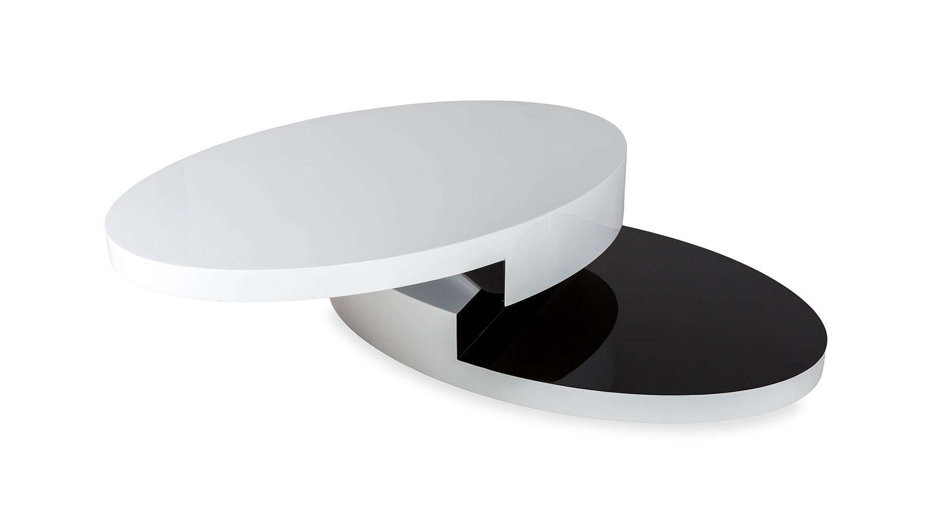 High Gloss White And Black Oval Coffee Table Worcester With Famous Black Oval Coffee Tables (View 8 of 20)