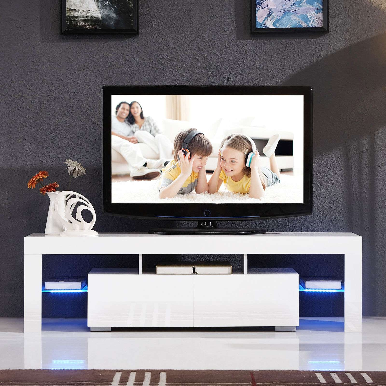 High Gloss White Tv Stand Unit Cabinet W/led Shelves 2 Drawers Throughout Gloss White Tv Cabinets (View 9 of 20)